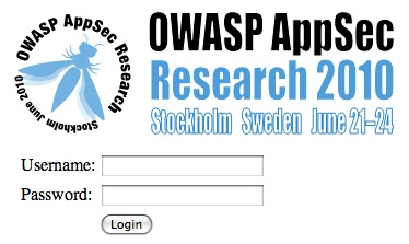 Appsec research 2010 challenge X login screen.jpg